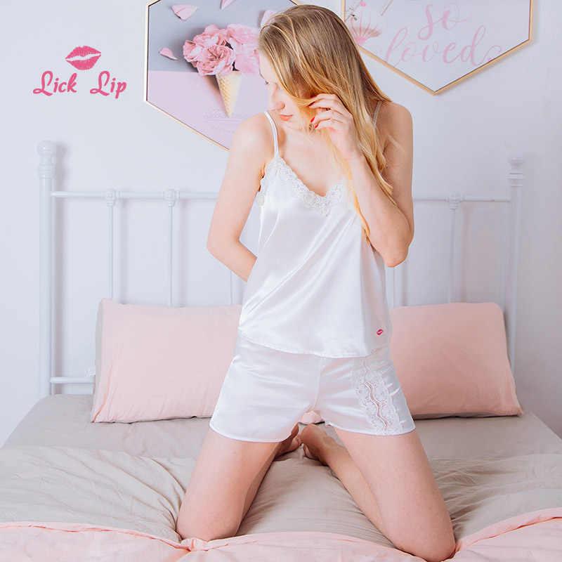 14e101f397 Lick Lip Pajamas Pyjama Feminino Side Lace Patchwork Short Sets Ladies V  Neck Summer Sleepwear Satin