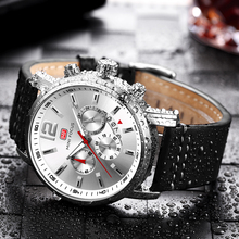 Montre de luxe pour hommes, montre à Quartz, style militaire, en cuir noir, horloge de sport, 2020