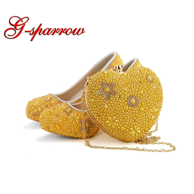 Yellow Pearl Women High Heel Shoes Rhinestone Wedding Party Prom Shoes with Matching Bag Adult Ceremony Heart Shape Handbag