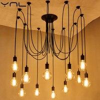 YNL Modern New Art DIY Pendant Lights E27 Edison Bulb Suspension Metal Irregular Vintage Lamps Living