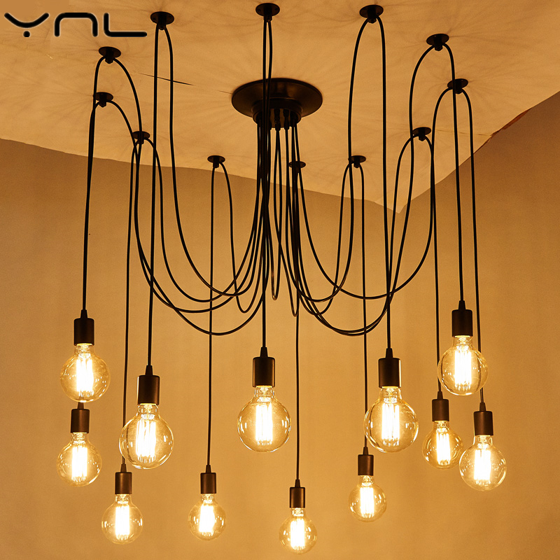e27 ac 110v 220v loft retro big spider chandelier lighting diy 6 8 10 12 14 lights vintage black chandeliers modern e26 lamps YNL LED Edison Bulb Cord Pendant Lights E27 Black Celling Lights Modern Loft Art Retro DIY metal Vintage lamps Indoor Lighting