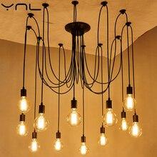 Luces colgantes YNL bombilla LED Edison con cordón E27, luces de techo negras, arte Retro Para Loft moderno, lámparas de metal Vintage para iluminación interior