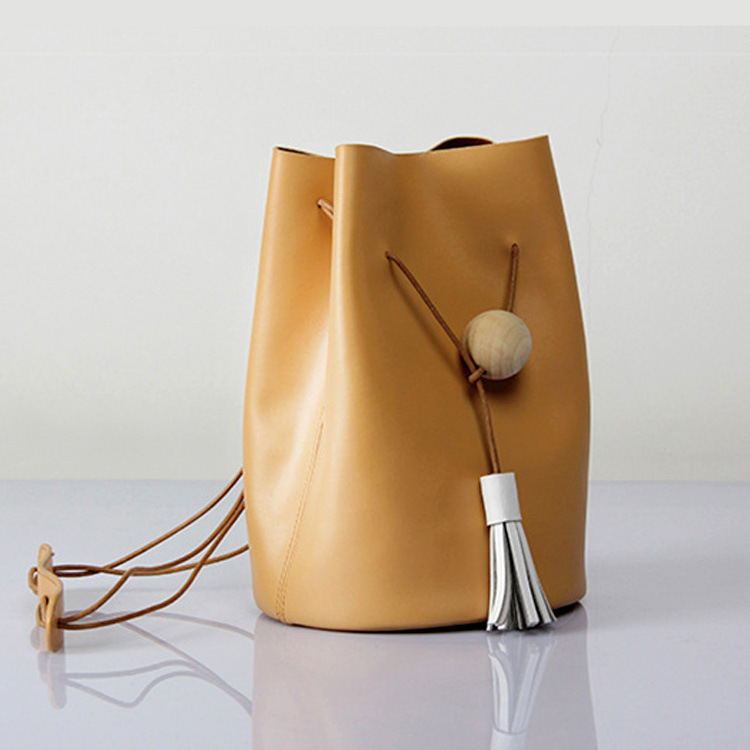 Khaki MUPO Bucket String Tassel Bags Cylindrical Shape Women Real Leather Hand Bag Lady Leather Shoulder Bag Cross Party Bags yuanyu 2018 new hot free shipping real python leather women clutch women hand caught bag women bag long snake women day clutches