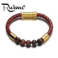 RUIMO Beads Leather Bracelet Natural Stone Genuine Braided Red Rope Stainless Steel Magnetic Clasp Bracelet Trendy Jewelry 2019