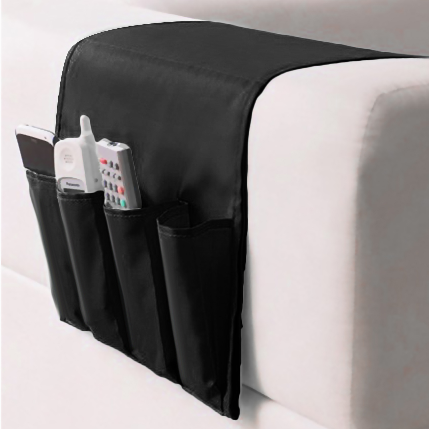 Behogar Foldable Oxford <font><b>Sofa</b></font> Chair Bedside Storage Organizer Bag Durable 4 <font><b>Pockets</b></font> Hanging Holder <font><b>for</b></font> <font><b>Remote</b></font> Control Magazine image