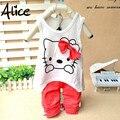 Conjunto de roupas meninas Gatinho verão terno colete + calça dois conjuntos de ternos de lazer do bebê meninas arco KT gato dos desenhos animados roupas terno das crianças