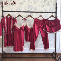 Fdfklak 5 Pieces Women Summer Pijama Sets Sleepwear 2018 New Faux Silk Pyjama Suit Pajamas For Women Lingerie Tracksuit Q1143