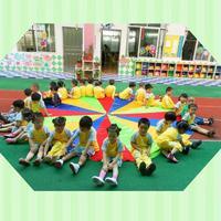 Dia 6m Child Kid Outdoor Sports Development Rainbow Parachute Umbrella Toy Jump Sack Ballute Play Parachute