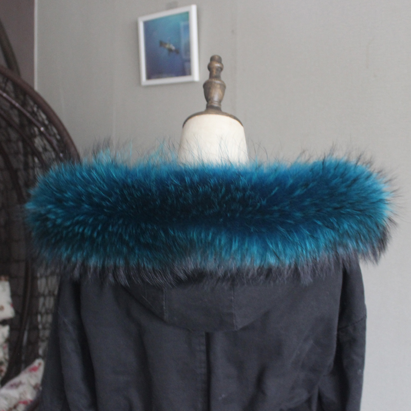 Зимняя куртка из натурального меха, воротник из натурального меха енота, женские шарфы, пальто, женская шапка, длинный теплый шарф из натурального меха, большой размер - Цвет: Peacock blue