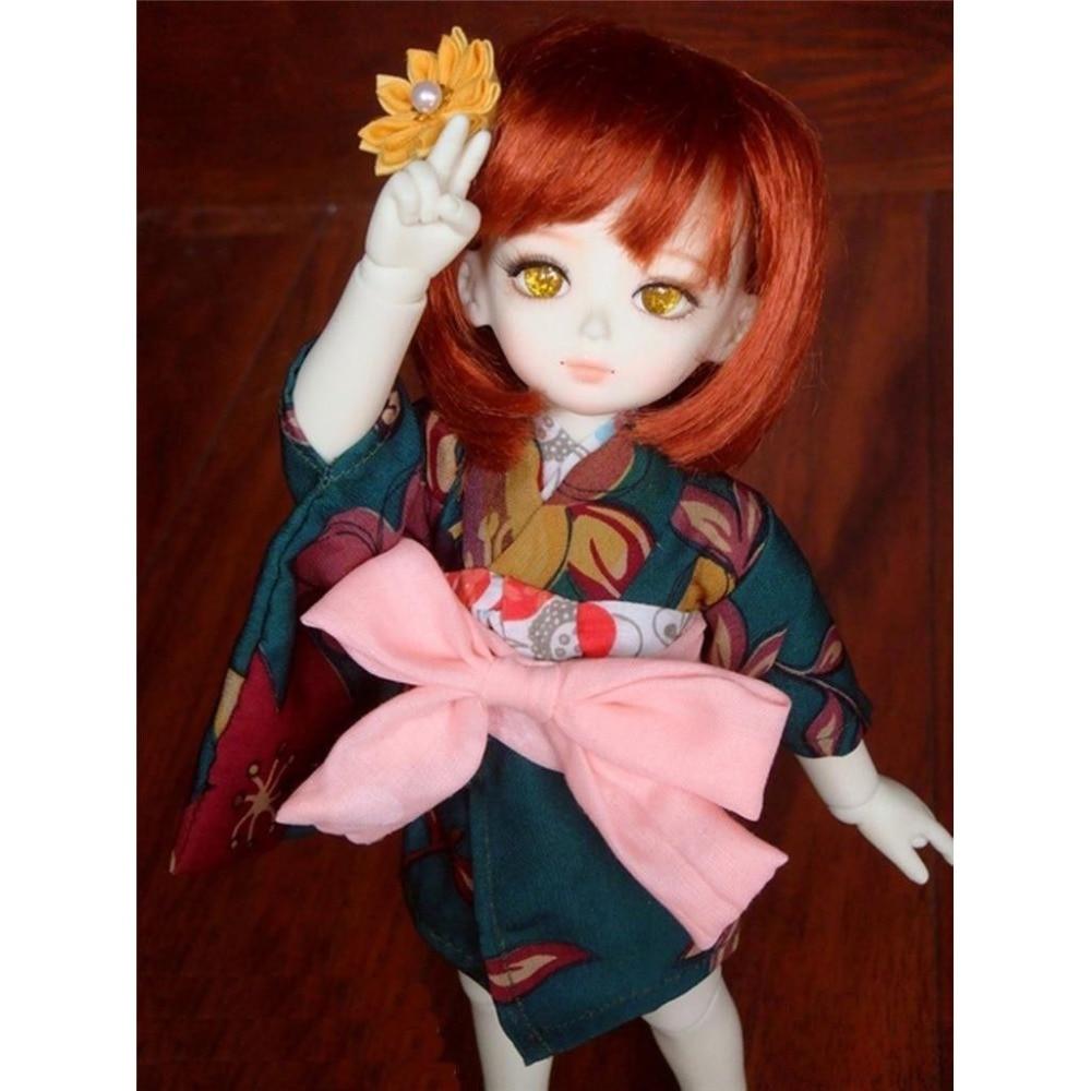 Kimono Dark Green Flower Bathrobes Clothing Coat 1/6 SD DOLL BJD Dollfie dark green open front sleeveless cape coat