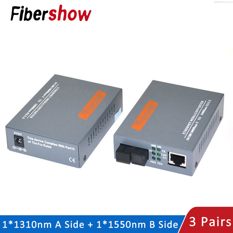 Media Converter HTB-GS-03 Gigabit Fiber Optical 1000Mbps Single Mode Single Fiber SC Port 20KM External Power Supply 3 Pair