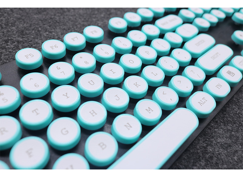 ABS USB Wired Typewriter Steam Punk Style Keyboard With Round Glowing Keycaps For PC Laptop 13