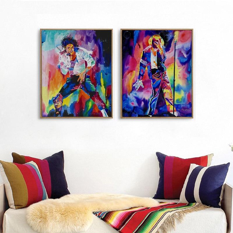 2 STÜCKE Rahmenlose Film Star Michael Jackson Leinwand Malerei ...