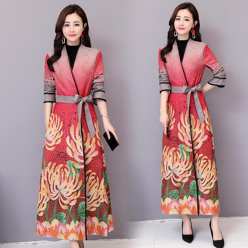 Cardigan 2 Femmes Manteau Élégant 1 Mujer Longue Style 4 Outwear Mince Automne Pardessus Femelle 3 Abrigo Rouge National Daim Tranchée qwZ4ABT