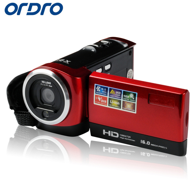 Ordro DV-107 Digital Video Camcorders HD 720P 16X Zoom Professional Reflex Recorder Cameras W/ Face Recognition Photo Camera