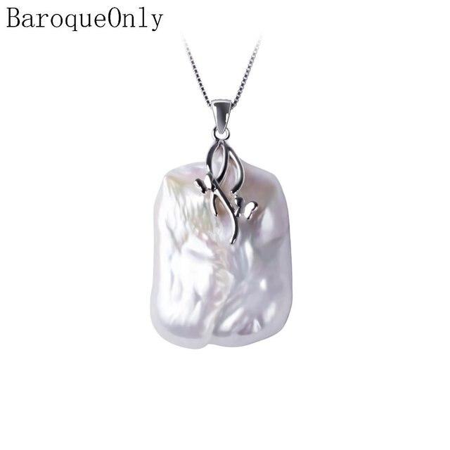 BaroqueOnly 天然淡水バロックパールペンダントネックレス、 18 23 ミリメートル、 925 スターリングシルバーペンダント真珠の宝石