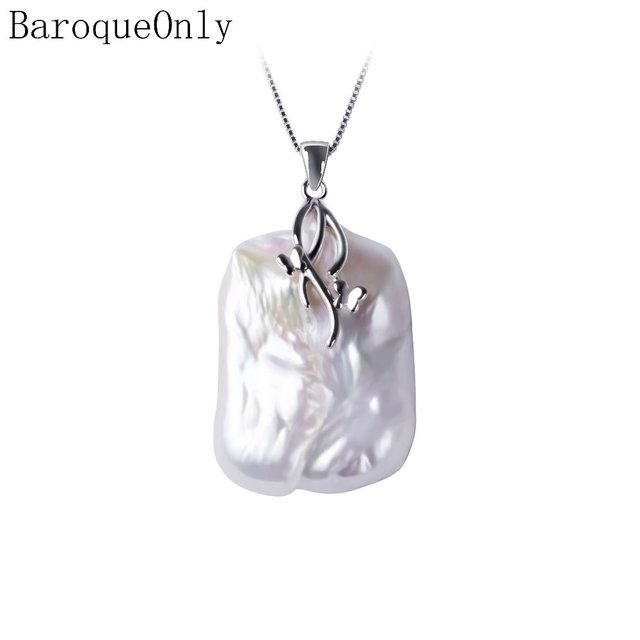 BaroqueOnly Natural Freshwater Baroque Pearl Pendant Necklace,18-23mm, 925 Sterl