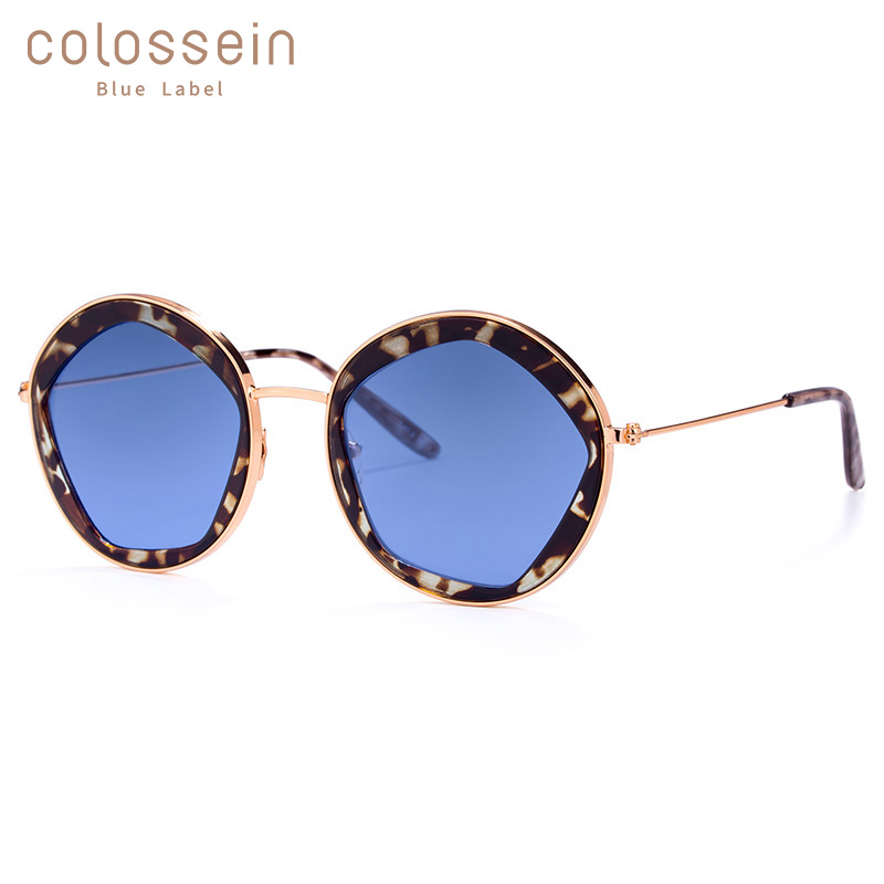 COLOSSEIN Classic Sunglasses Women Fashion Formal Vintage Round Sun Glasses Men Modis Personality Metal Blue UV400 Eyewear