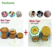 1 個赤タイガーバーム軟膏 + 1 個ホワイトタイガーバーム 100% オリジナルタイ鎮痛剤軟膏筋肉痛リリーフ落ち着かかゆみ