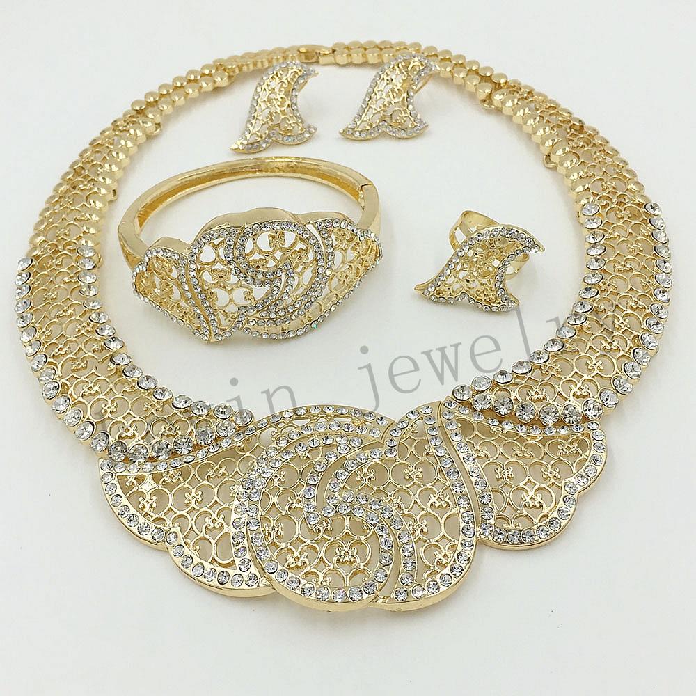 Fashion Women 18K Gold Plated Crystal Africa Dubai Wedding Party Jewelry Set