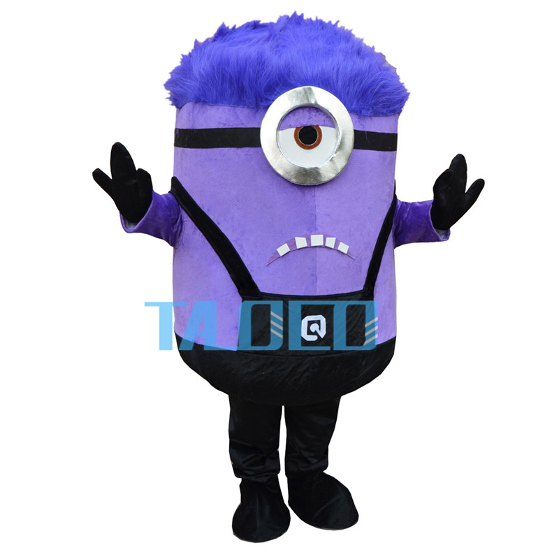 Purple Despicable Minions Cartoon Mascot Costume Outfit Fancy Dress Free Shipping