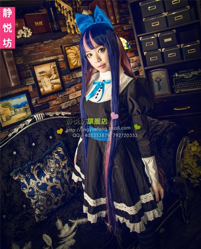 2016 High quality Panty & Stocking Garterbelt Stocking Cosplay Dress Costume Lolita Maid Costume free shipping