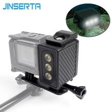 JINSERTAใต้น้ำ30เมตรดำน้ำแสงกันน้ำหลอดไฟLEDสำหรับกล้องวิดีโอGoproฮีโร่6 5สีดำ4 3 + 3 SJ7000 XiaoYi 300LMแสง
