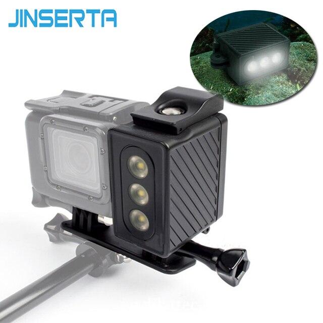 JINSERTA sous marine 30 m plongée lumière LED étanche lampe de lumière vidéo pour Gopro Hero 6 5 noir 4 3 + 3 SJ7000 XiaoYi 300LM lumière