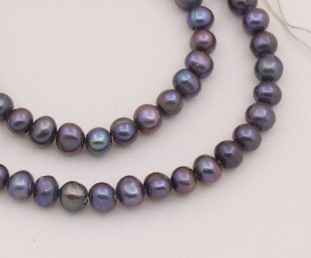 "Купить с кэшбэком 5mm Real Black Oval Pearl Loose Beads 14"" inches Strand Necklace Making DIY"