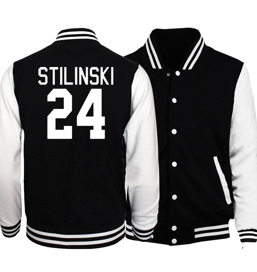 Teen Wolf Stilinski 24 Uniforme Da Baseball Degli Uomini Il Lampeggiatore Star S.T.A.R Jacket Nero Bianco Cappotto Punk Rock Baseball Sottile Giubbotti 5XL