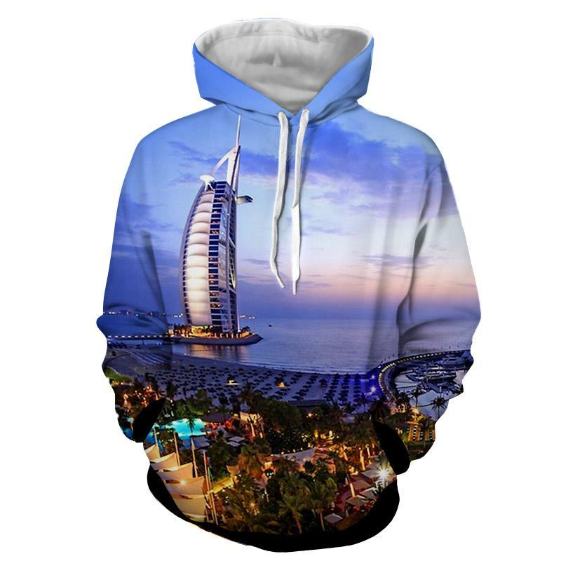 2018 NEW FASHION MEN WOMEN Coast modernization sailboat 3D print Hoodie Sweatshirts Pullovers Autumn Tracksuit Loose Thin Hoody
