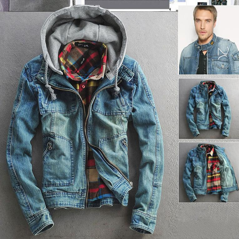 Free Shipping Mens Hoodie Jeans Jackets Coat Outerwear Hooded Winter Coat Hoodie Denim Jacket ...