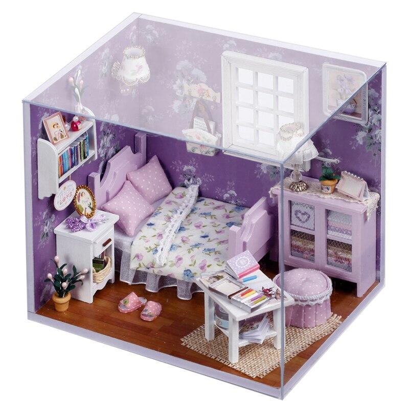 Maison décoration artisanat bricolage maison de poupée en bois maisons de poupée maison de poupée miniature à monter soi-même meubles Kit chambre LED lumières cadeau soleil H03