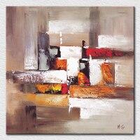 Mix kleur abstract schilderij orange zwart wit en rood schilderij handgeschilderd canvas kunst voor kamer muur decor