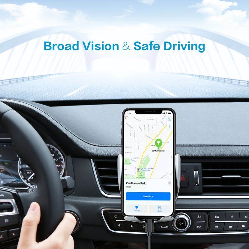 Qi Car Wireless Charger For iPhone Xs X 8 10W Infrared Fast Wireless Charging For Samsung Galaxy S9 S10 Car Phone Holder Charger in Mobile Phone Chargers from Cellphones Telecommunications