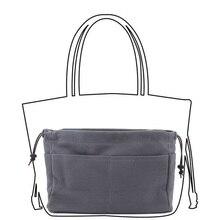 High Quality Canvas Purse Organizer Bag Handbag Organizers Insert Sturdy 10 Pockets Grey Color 2 Sizes