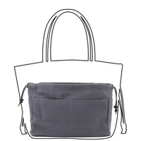 High Quality Canvas Purse Organizer Bag Canvas Handbag Organizers Insert Bag Sturdy 10 Pockets Grey Color