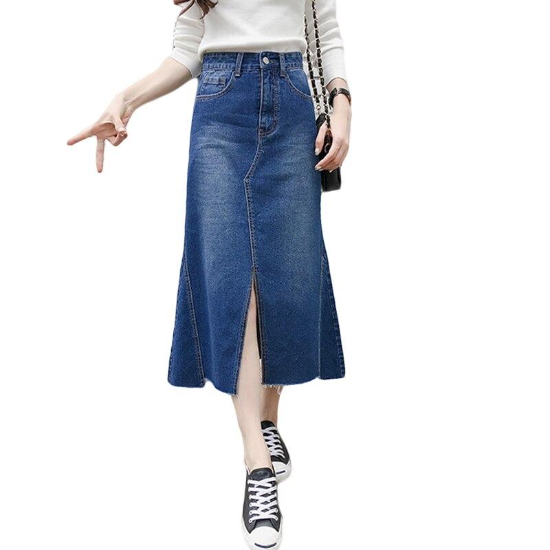 Fashion Medium Long Denim Skirts Women Spring Summer High