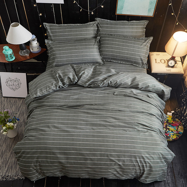 White Gray Stripes Fashion High Quality Bedding Set King Queen Full Twin  Size Quilt Cover Bed