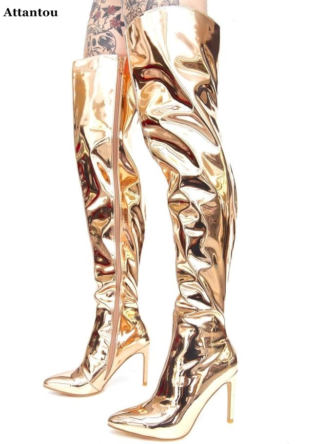 Golden glossy Bright leather long boots pointed toe over the knee high boots woman shoes stiletto nigh club stage party bootsGolden glossy Bright leather long boots pointed toe over the knee high boots woman shoes stiletto nigh club stage party boots