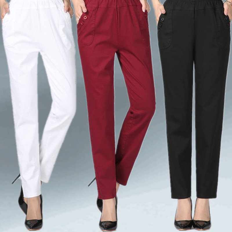 bb62c7cd3d0 Middle-aged and older Women Elastic waist Pants Plus size Women Loose  Trousers Solid Casual With pocket Cotton Trousers 5XL