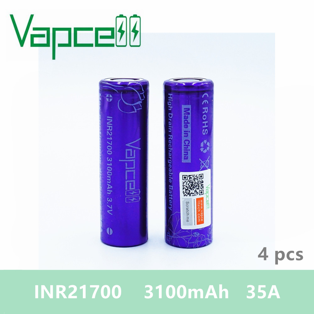 Free shipping 4pcs VAPCELL INR 21700 Battery 3100mAh 35A large smoke electronic HIGH POWER 3 7V