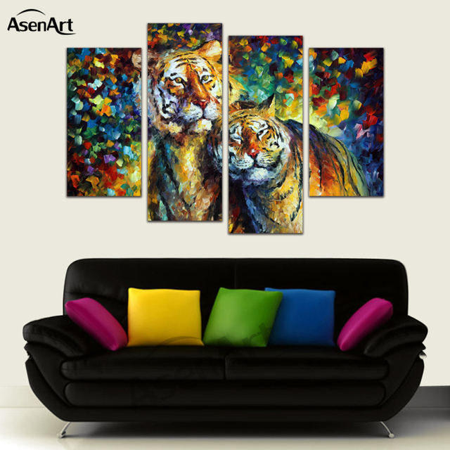 4 Pieces Picture Animal Painting Tiger Picture Frames Living Room ...