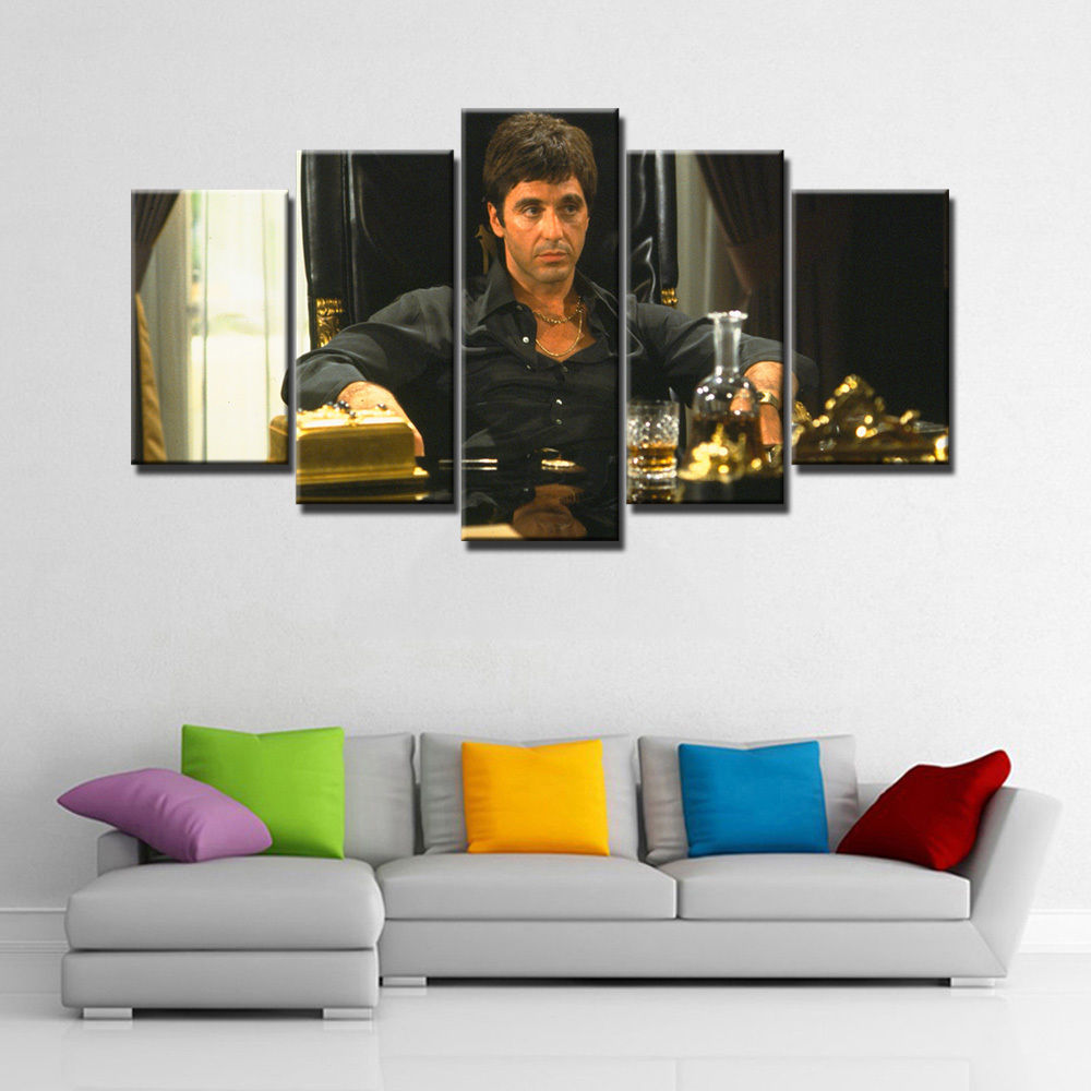 5 Piece with Frame Scarface 2 Movie Al Pacino Poster Canvas Printing ...