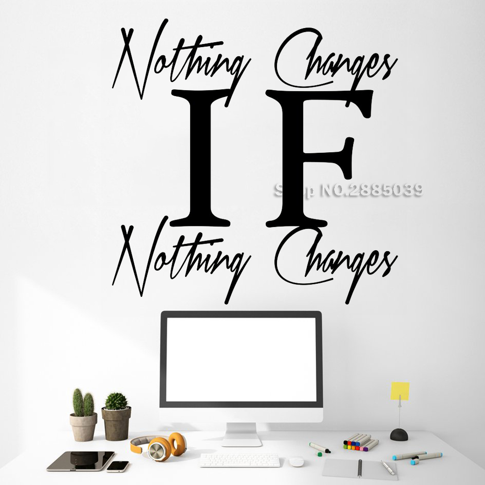 If Nothing Changes Quote Vinyl Wall Stickers Motivational Decal Art Home Decor Poster Inspirational Office Wall Decals New LC653