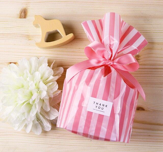 100 cái Màu Nhựa Sọc Cookie Kẹo Quà Tặng Túi Xách Không Dính Gói Con Dấu Túi Giấy Bóng Kính Sinh Nhật