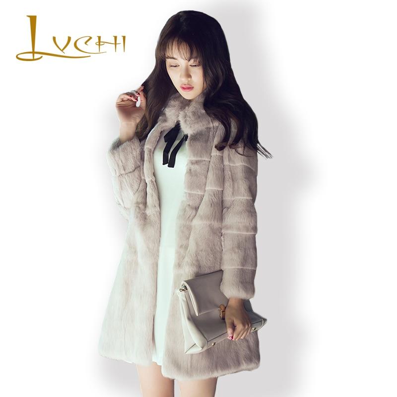 LVCHI 2019 Women Real Mink Fur Coats Natural Full Wide-Waist Striped Rabbit Fur Winter Coat Women's Fashion Rex Rabbit  Coat