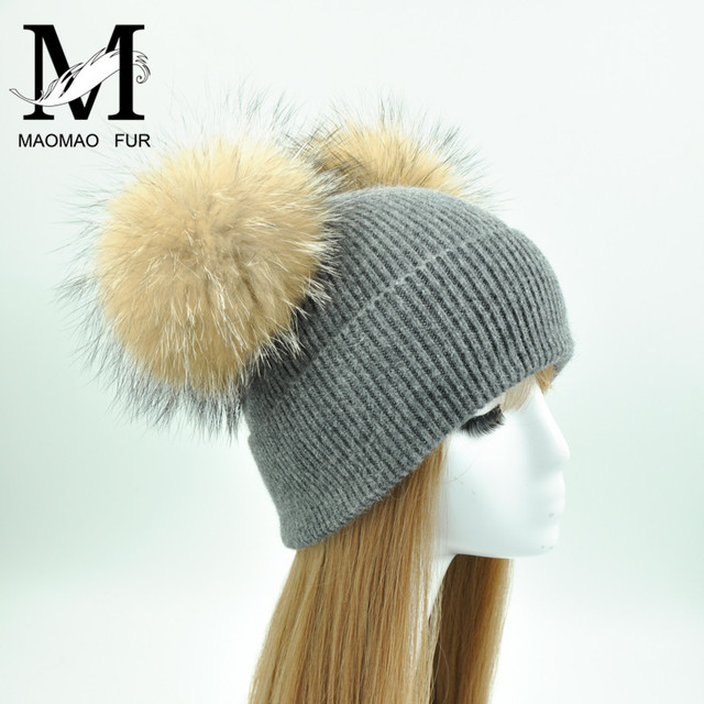 Big Real Fur Pom Pom Hat Women Wool Knitted Hats 2018 Spring Super Stylish Double Raccoon Fur Pompom Caps