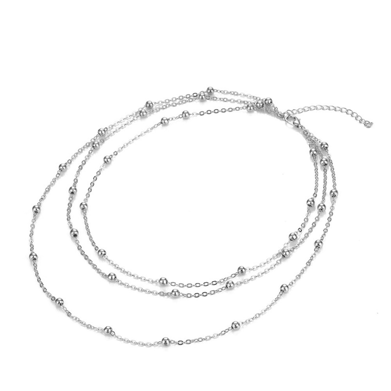KISSWIFE Трендовое винтажное многослойное колье с круглыми бусинами, ожерелье с подвеской для женщин, девушек, бохо, ювелирные изделия ручной работы - Окраска металла: Silver