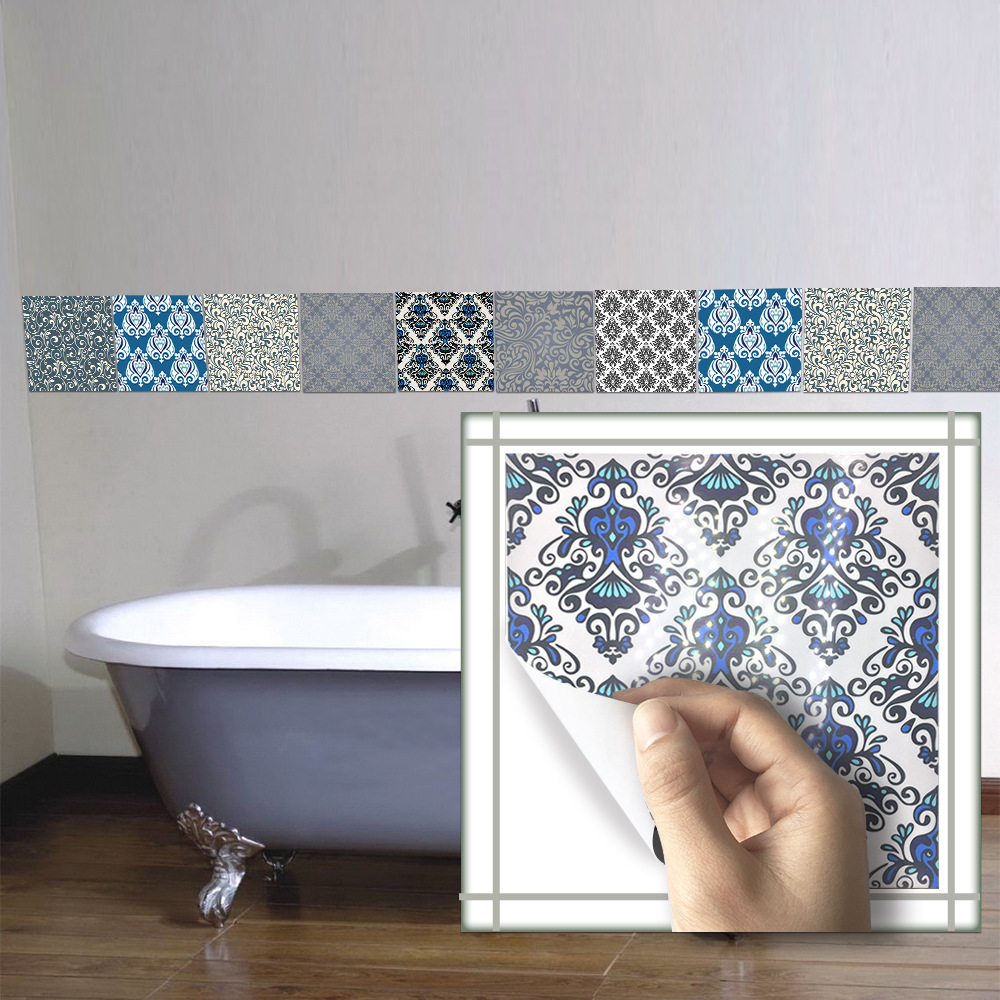 20*20cm*10pcs/7.87*7.87inch Bathroom wall Damascus tile stickers ...